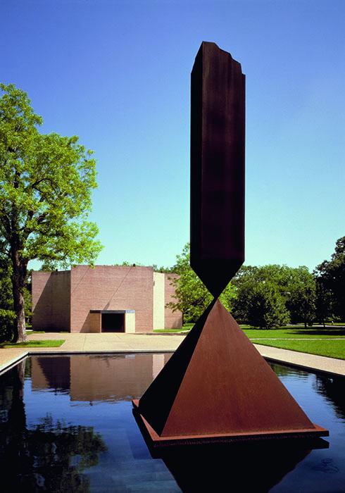 Broken Obelisk by Barnett Newman, Rothko Chapel, Houston, TX. Photo by Hickey-Robertson