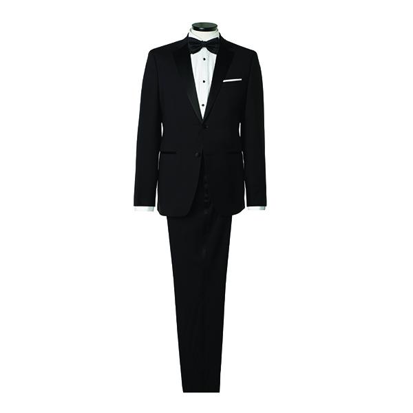 블랙 버튼으로 포인트를 준 화이트 셔츠 25만원대, 새틴 라펠과 라이닝을 더한 턱…